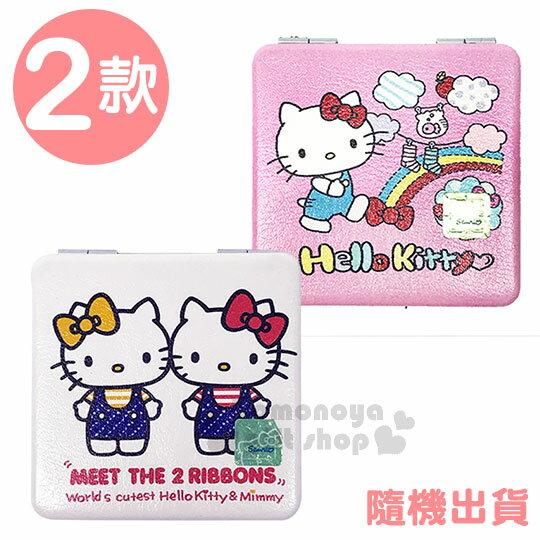 〔小禮堂〕Hello Kitty 皮質隨身雙面鏡《2款隨機.方型.粉/白.踏青.彩虹.曬衣》放大效果
