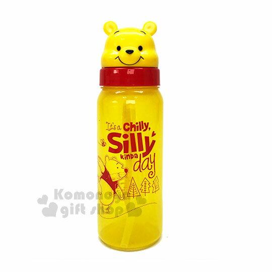 〔小禮堂〕迪士尼 小熊維尼 造型吸管水壺《黃.森林.玩耍.大臉.500ml》