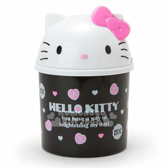 〔小禮堂〕HelloKitty造型掀蓋式垃圾桶《M.白黑.大臉.愛心》