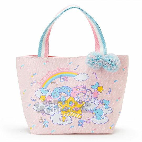 〔小禮堂〕雙子星帆布手提袋《粉.粉藍白提把.彩球.朋友》彩虹啦啦隊系列