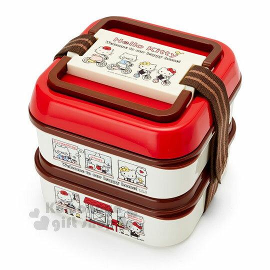 〔小禮堂〕HelloKitty雙層束帶野餐盒《L.米紅.騎腳踏車.家人》附餐盤.便當盒