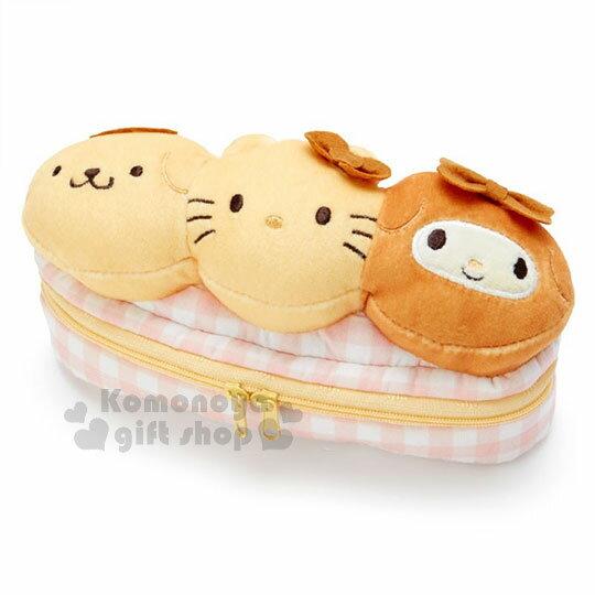 〔小禮堂〕Sanrio大集合造型拉鍊筆袋《黃.三顆麵包.大臉》化妝包.收納包.黃金麵包屋系列