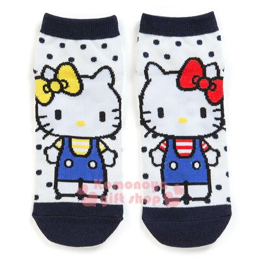 〔小禮堂〕Hello Kitty 成人及踝襪《白藍.姊妹.Mimmy.藍吊帶褲》適穿腳長23-25公分