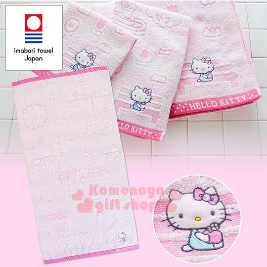 〔小禮堂〕Hello Kitty 日製純棉大浴巾《粉.站牌.小花.坐長椅》今治毛巾 0