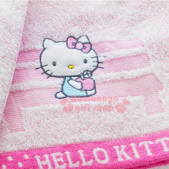 〔小禮堂〕Hello Kitty 日製純棉大浴巾《粉.站牌.小花.坐長椅》今治毛巾 2