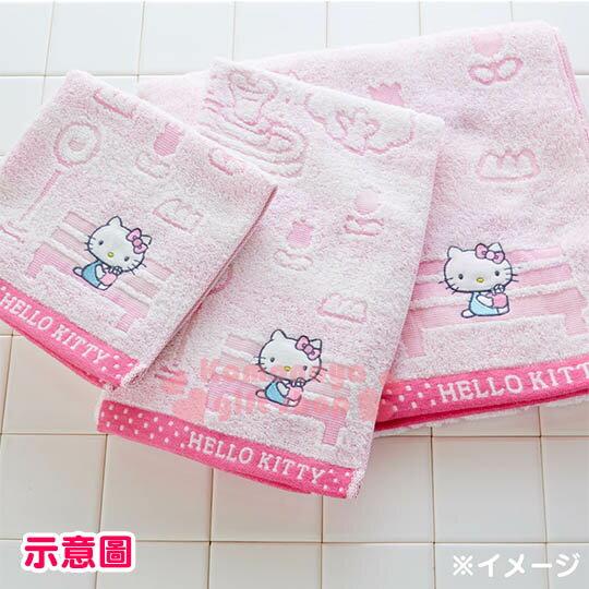 〔小禮堂〕Hello Kitty 日製純棉大浴巾《粉.站牌.小花.坐長椅》今治毛巾 3