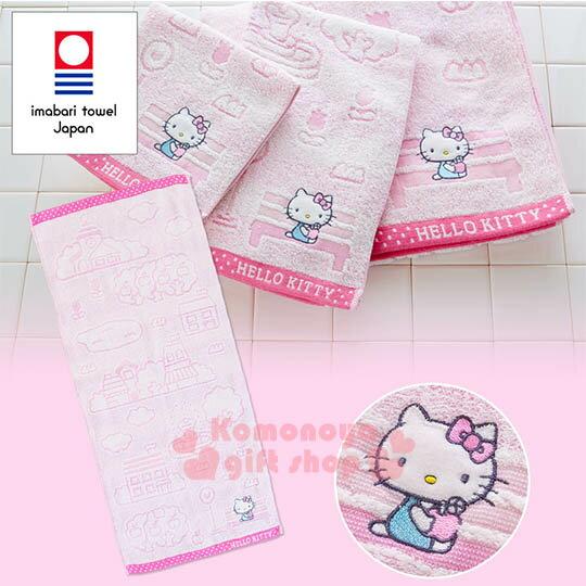〔小禮堂〕Hello Kitty 日製純棉長毛巾《粉.戶外.房子.蘋果樹.坐長椅》今治毛巾 0