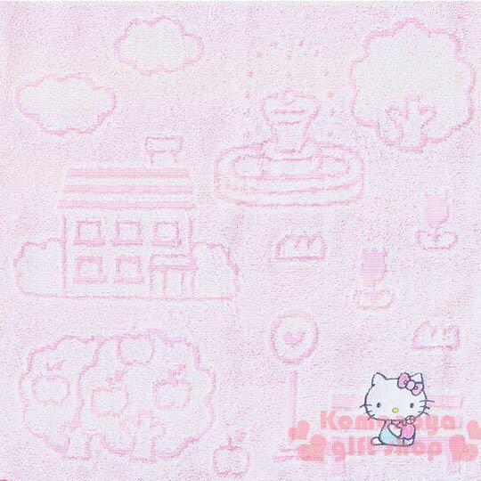 〔小禮堂〕Hello Kitty 日製純棉長毛巾《粉.戶外.房子.蘋果樹.坐長椅》今治毛巾 1