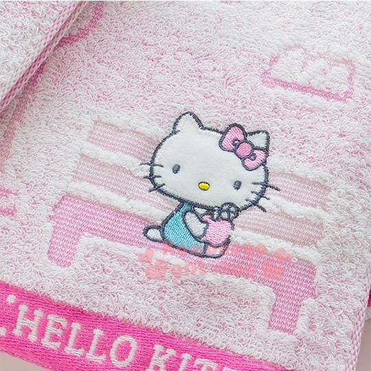 〔小禮堂〕Hello Kitty 日製純棉長毛巾《粉.戶外.房子.蘋果樹.坐長椅》今治毛巾 2