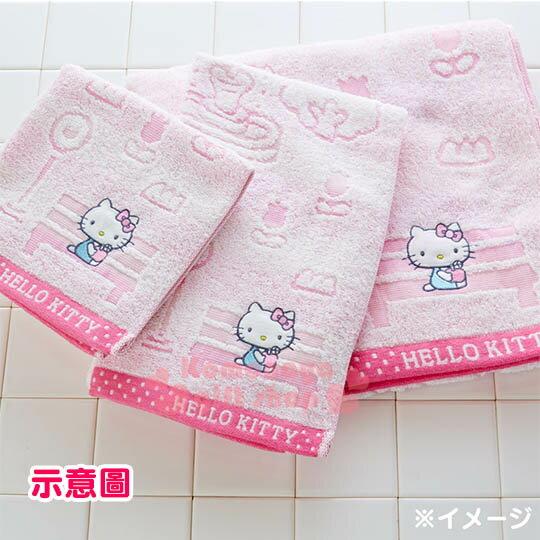 〔小禮堂〕Hello Kitty 日製純棉長毛巾《粉.戶外.房子.蘋果樹.坐長椅》今治毛巾 3