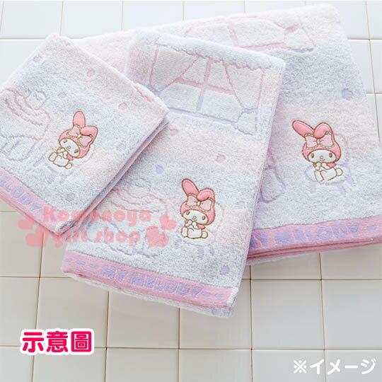 〔小禮堂〕美樂蒂 日製純棉長毛巾《粉紫.條紋.屋內.窗戶》今治毛巾 3