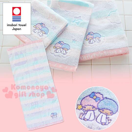 〔小禮堂〕雙子星日製純棉長毛巾《紫粉藍.橫條.天空.城堡》今治毛巾