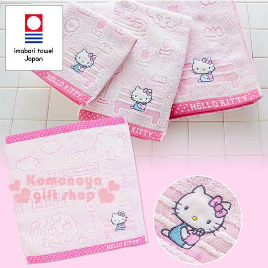 〔小禮堂〕Hello Kitty 日製方形毛巾《粉.浮雕.公車站.噴水池》今治毛巾