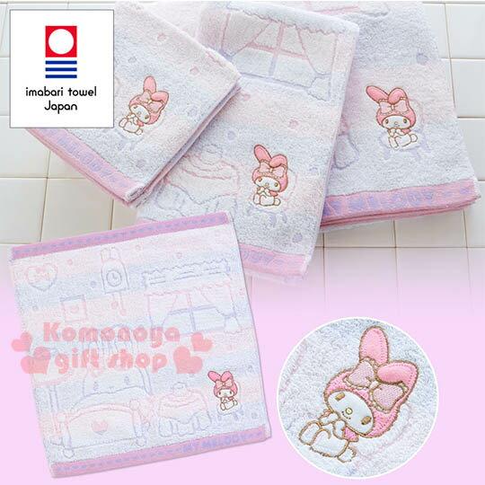 〔小禮堂〕美樂蒂日製方形毛巾《粉紫.浮雕.房間.掛鐘》今治毛巾