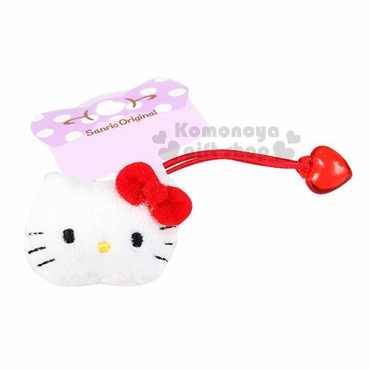 〔小禮堂〕Hello Kitty 絨毛彈力髮束~紅.大臉.愛心~頭飾.髮飾.髮圈