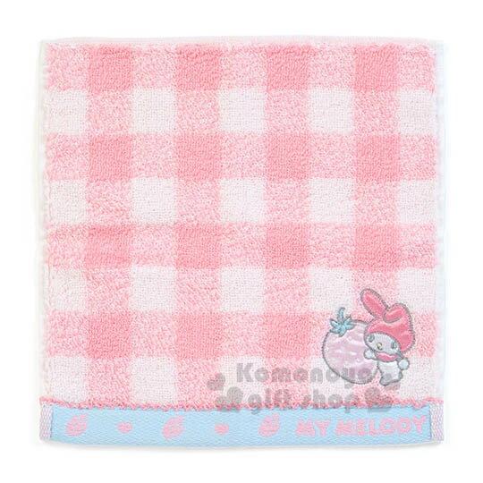 〔小禮堂〕美樂蒂 純棉小方巾《粉白格紋.草莓.20x20cm》Sanrio大集合系列
