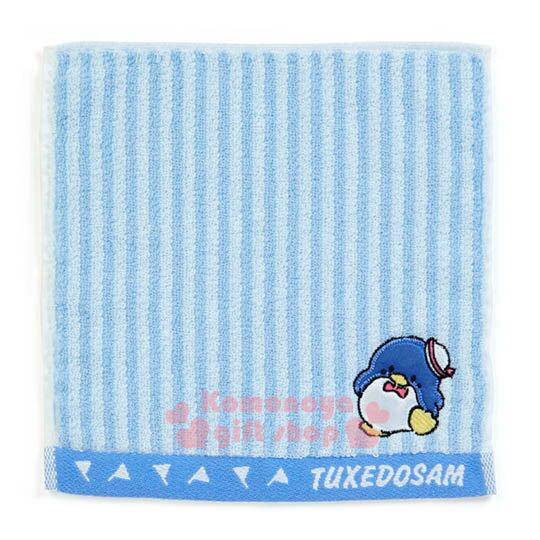 〔小禮堂〕山姆企鵝 純棉小方巾《藍白條紋.海軍帽.20x20cm》Sanrio大集合系列