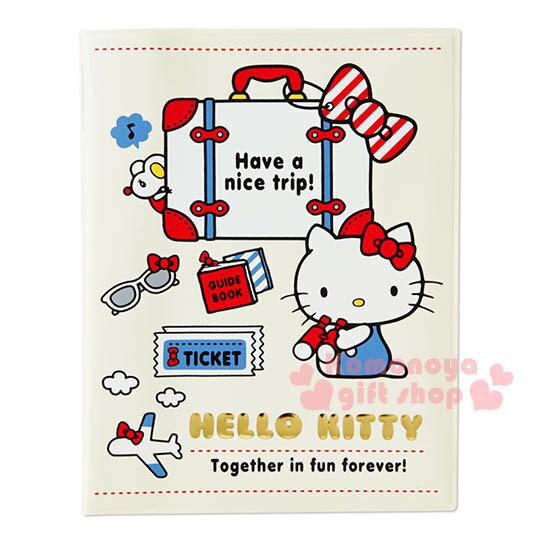 〔小禮堂〕Hello Kitty 護照套~白.行李箱.墨鏡~旅行護照夾