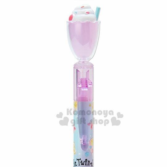 〔小禮堂〕雙子星 日製冰沙杯造型自動原子筆《粉紫》黑色墨水.水果文具系列 2