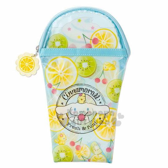 〔小禮堂〕大耳狗冰沙杯造型防水拉鍊筆袋《黃藍.透明》化妝包.水果文具系列