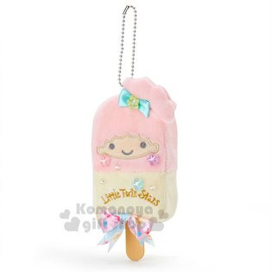 〔小禮堂〕雙子星LALA絨毛造型吊飾《粉黃.櫻桃.蝴蝶結.星星》水果文具系列