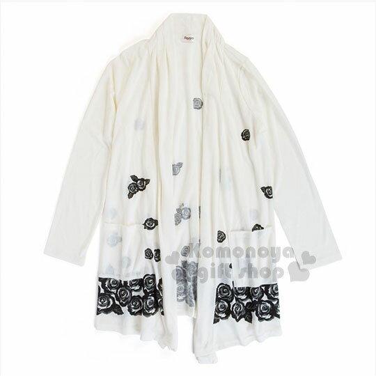 〔小禮堂〕HelloKitty抗UV開襟外套《白.玫瑰》防曬遮陽.涼感加工
