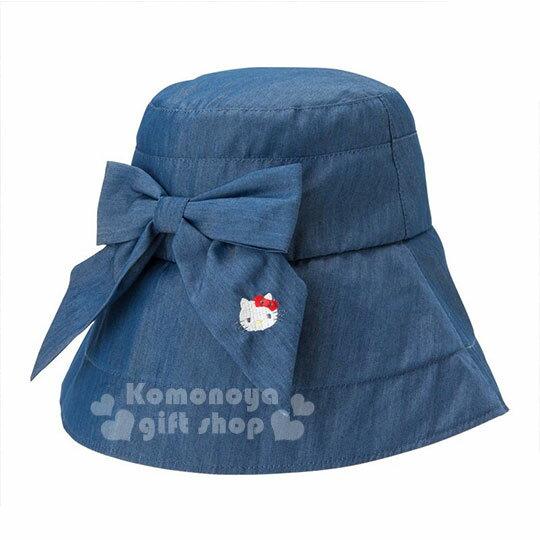 〔小禮堂〕HelloKitty牛仔漁夫帽《藍.牛仔.蝴蝶結》可折疊收納