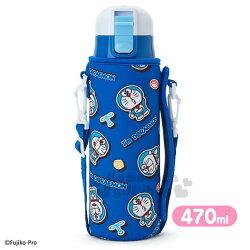 〔小禮堂〕哆啦A夢 不鏽鋼水壺《藍.道具.滿版》保溫瓶.470ml.附專用提袋