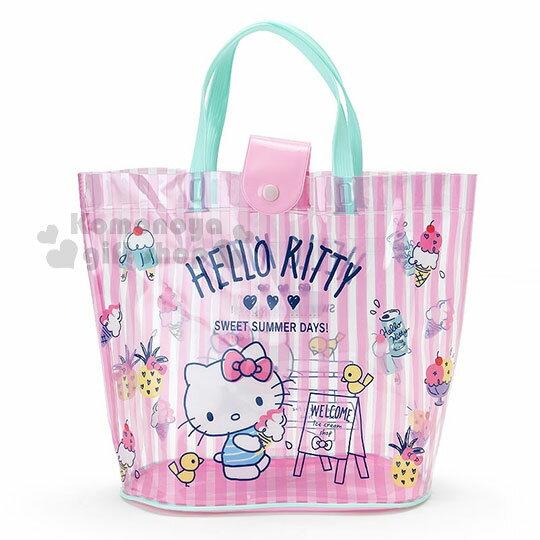〔小禮堂〕HelloKitty防水扣式手提袋《粉.條紋.藍提把.拿冰淇淋》水桶型.海灘袋