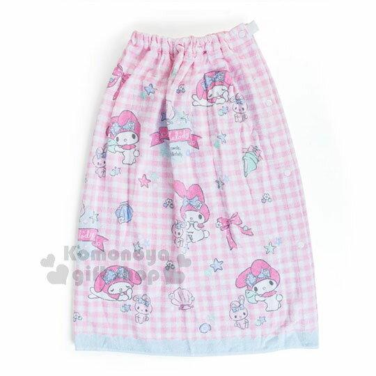 〔小禮堂〕Hello Kitty 兒童無肩帶浴裙《粉.格子.貝殼》70cm.兩用可拆式 0