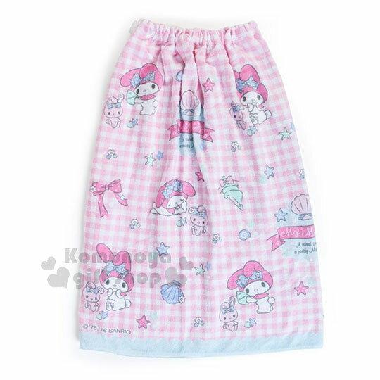 〔小禮堂〕Hello Kitty 兒童無肩帶浴裙《粉.格子.貝殼》70cm.兩用可拆式 1