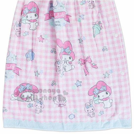 〔小禮堂〕Hello Kitty 兒童無肩帶浴裙《粉.格子.貝殼》70cm.兩用可拆式 2