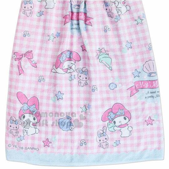 〔小禮堂〕Hello Kitty 兒童無肩帶浴裙《粉.格子.貝殼》70cm.兩用可拆式 3