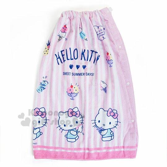 〔小禮堂〕HelloKitty兒童無肩帶浴裙《粉.條文.冰淇淋》80cm.兩用可拆式
