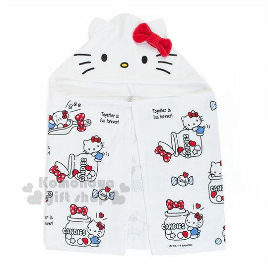 〔小禮堂〕Hello Kitty 造型連帽浴巾《白.糖果罐.多圖.滿版.100x50cm》