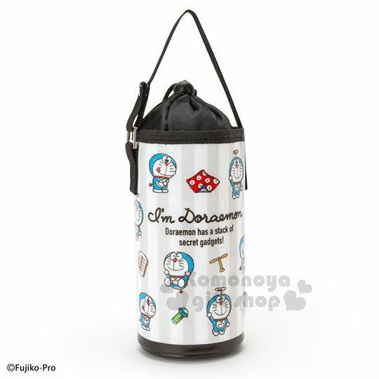 〔小禮堂〕哆啦A夢 保冷束口水壺袋《黑白.道具篇》可提.環保