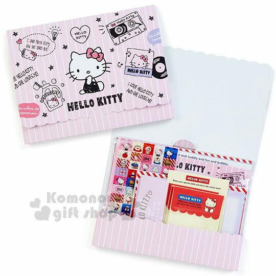 〔小禮堂〕HelloKitty日製信紙組《粉.條紋.坐姿.素描》8種豪華樣式.含貼紙