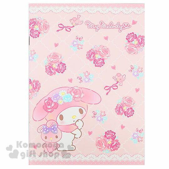 〔小禮堂〕美樂蒂 日製筆記本《A5.粉.上下蕾絲.波浪格紋.玫瑰.滿版》橫條紋內頁