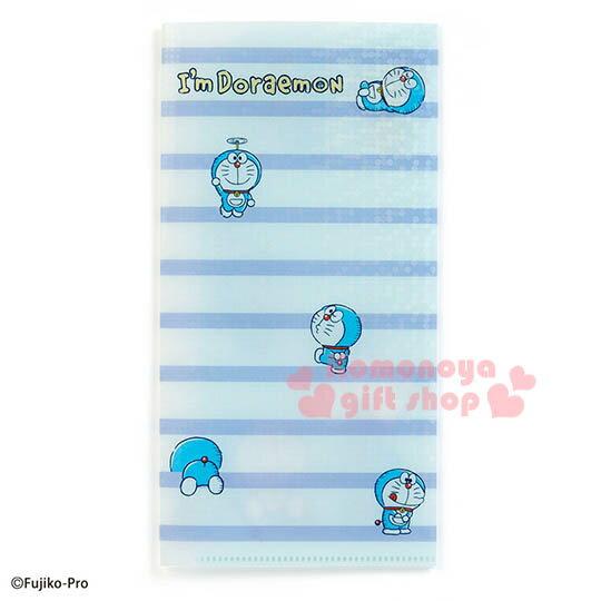 〔小禮堂〕哆啦A夢 日製雙開式票據文件夾《藍白條紋.竹蜻蜓.多動作》資料夾