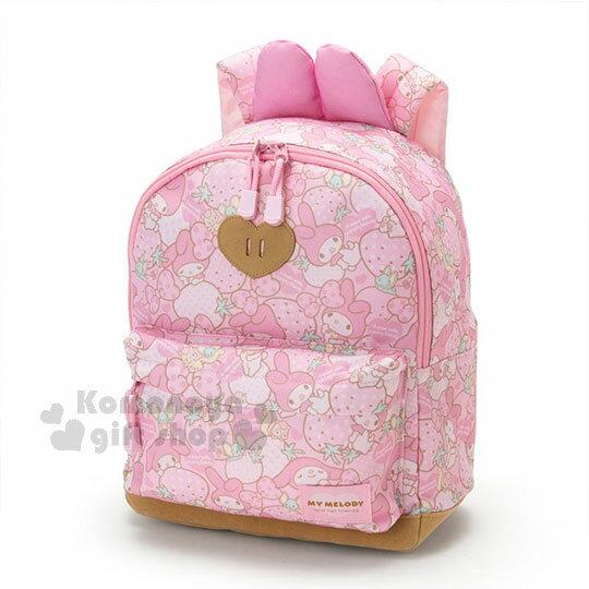 〔小禮堂〕美樂蒂 尼龍後背包《10L.粉.兔耳.草莓.滿版》