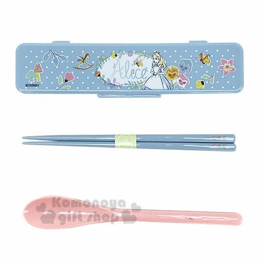 〔小禮堂〕迪士尼 愛麗絲 日製餐具組《藍.點點.花.童話》