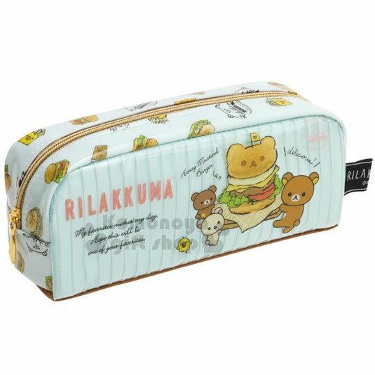 〔小禮堂〕拉拉熊 防水拉鍊筆袋《藍.亮面.速食.漢堡.薯條》 0