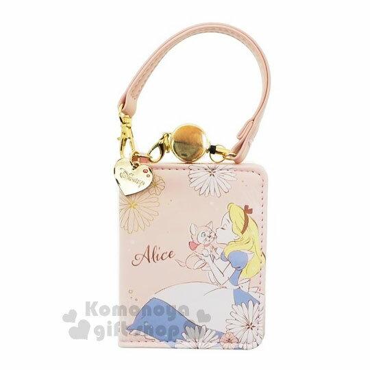 〔小禮堂﹞迪士尼愛麗絲伸縮皮質票卡夾《粉橘.花.貓咪》多層票卡夾.證件夾.車票夾