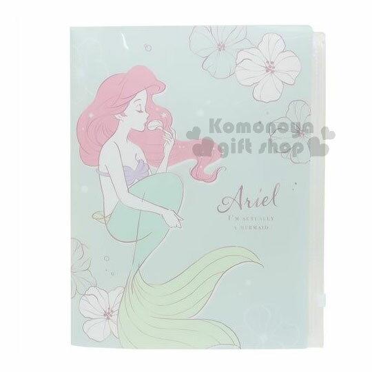〔小禮堂〕迪士尼小美人魚雙開式文件夾《A4.綠.花》附夾鏈袋.資料夾