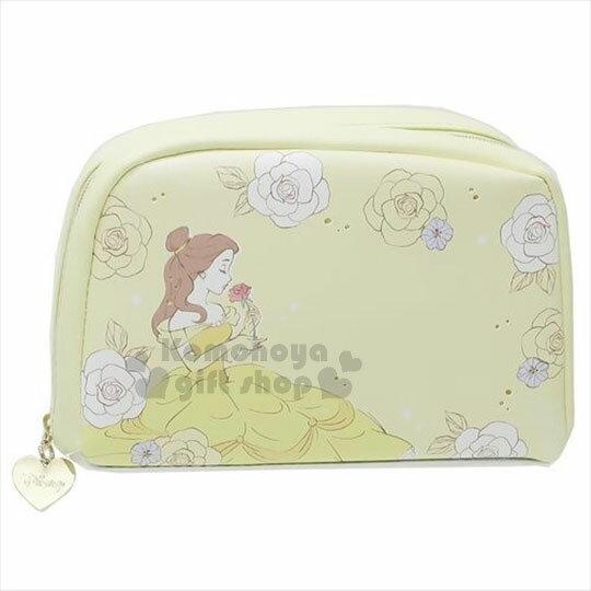 〔小禮堂﹞迪士尼 美女與野獸 皮質拉鍊化妝包《黃.玫瑰.手拿.聞》 0