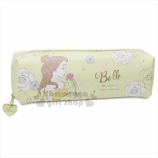 〔小禮堂〕迪士尼 美女與野獸 皮質拉鍊筆袋《黃.玫瑰.手拿.聞》 0