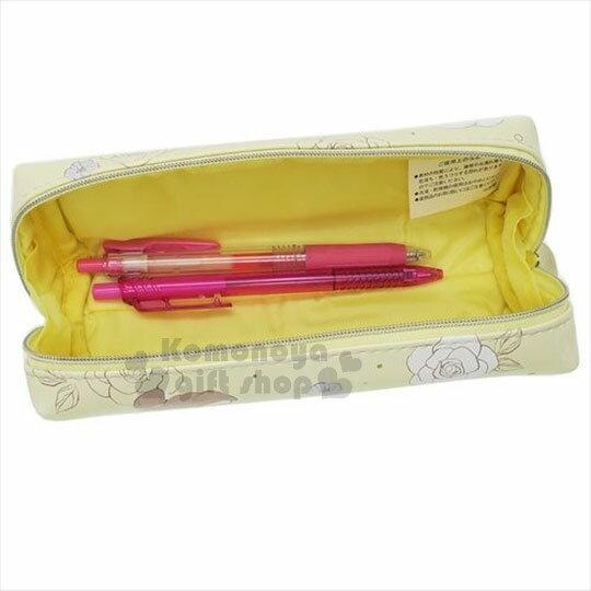 〔小禮堂〕迪士尼 美女與野獸 皮質拉鍊筆袋《黃.玫瑰.手拿.聞》 1