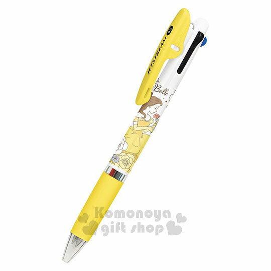 〔小禮堂〕迪士尼 美女與野獸 貝兒 日製多色原子筆~黃白.玫瑰.3色~Jetstream系