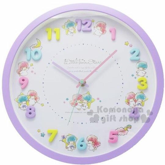 〔小禮堂〕雙子星圓型壁掛鐘《紫.星星.多姿勢.盒裝》吊掛式時鐘.立體數字