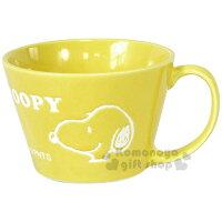 史努比Snoopy商品推薦,史努比馬克杯推薦到〔小禮堂〕史努比 陶瓷馬克杯《黃.大臉.素描.英文字》寬口平底.精緻盒裝